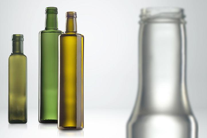 Vinegar and oil in glass bottles