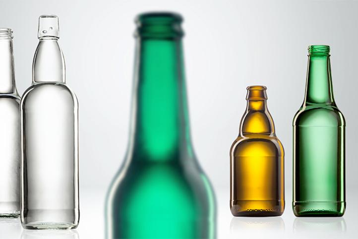 Empty glass bottles for beer