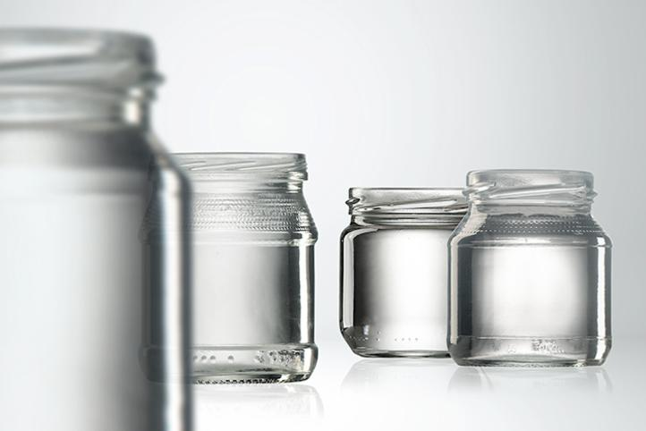 Empty glass jars for baby food